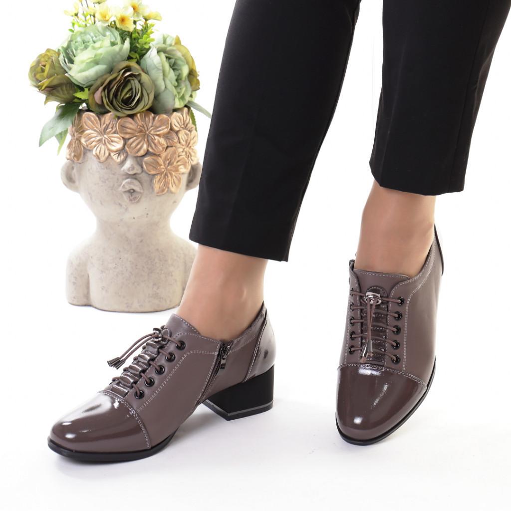 Pantofi gri piele ecologica Monalisa