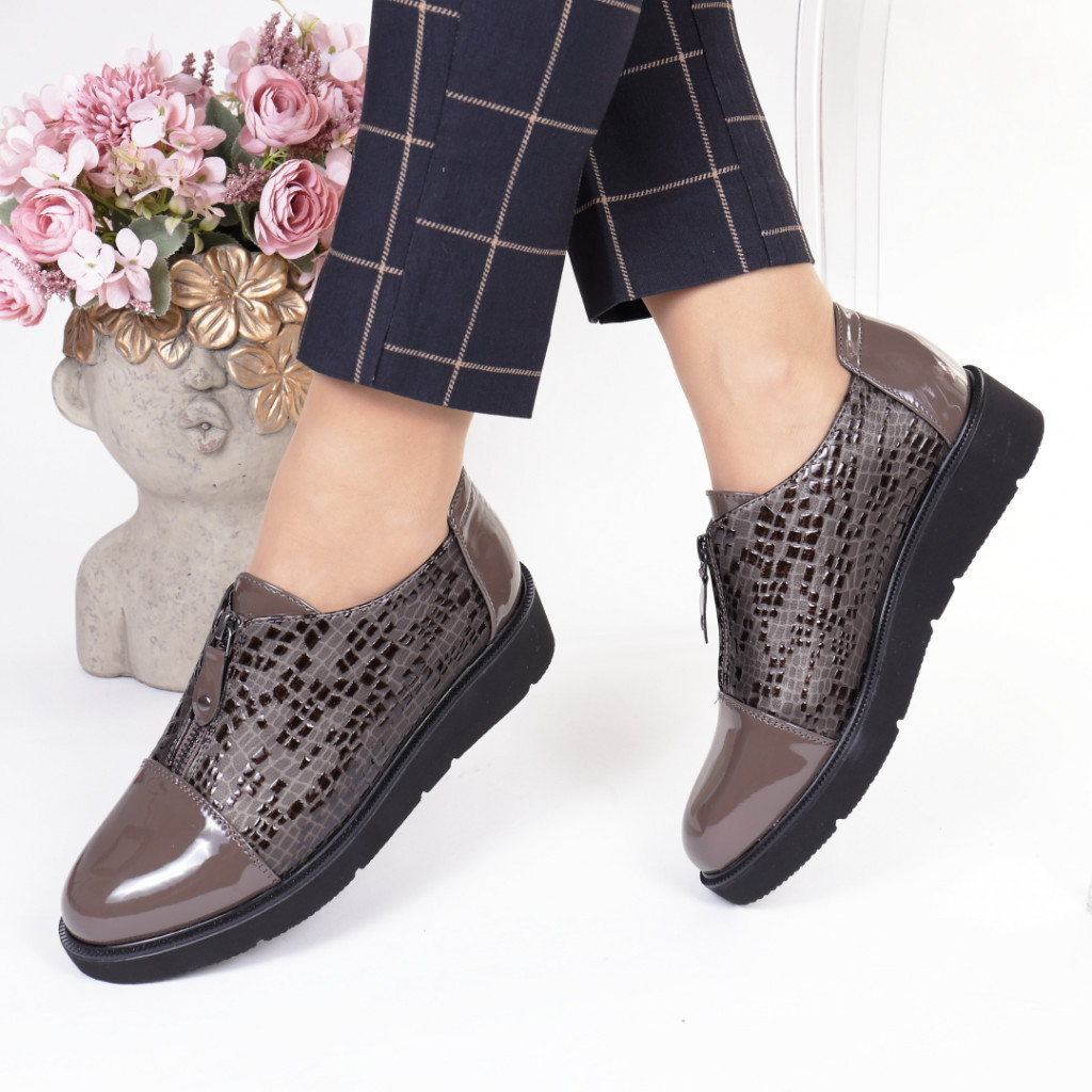 Pantofi gri piele ecologica Teresita