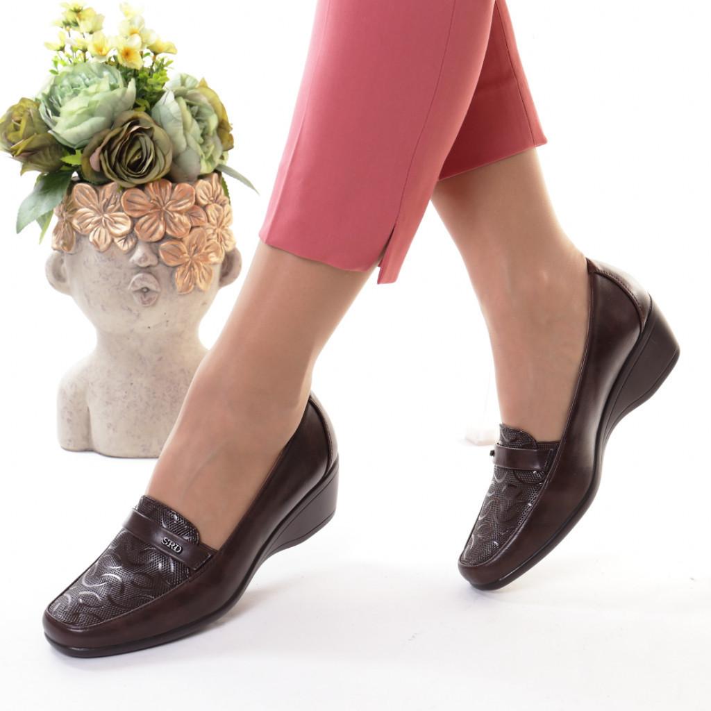 Pantofi maro piele ecologica Ecana