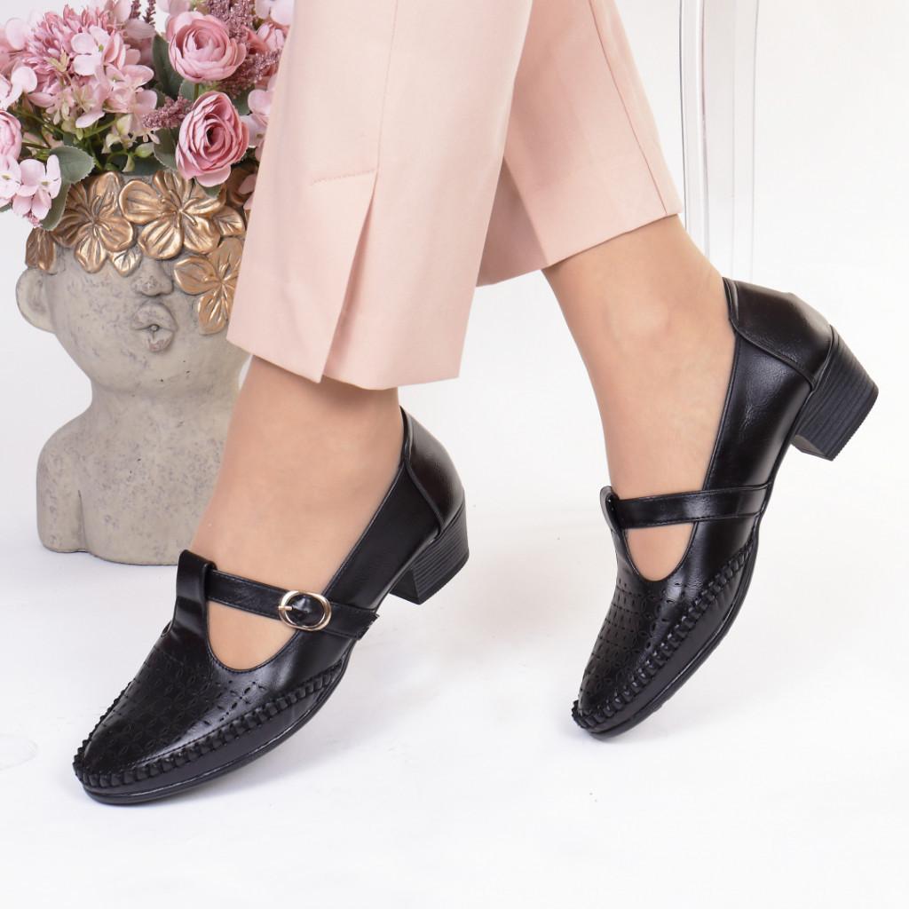 Pantofi negri piele ecologica Damiana
