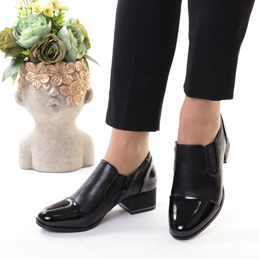 Pantofi negri piele ecologica Sanura
