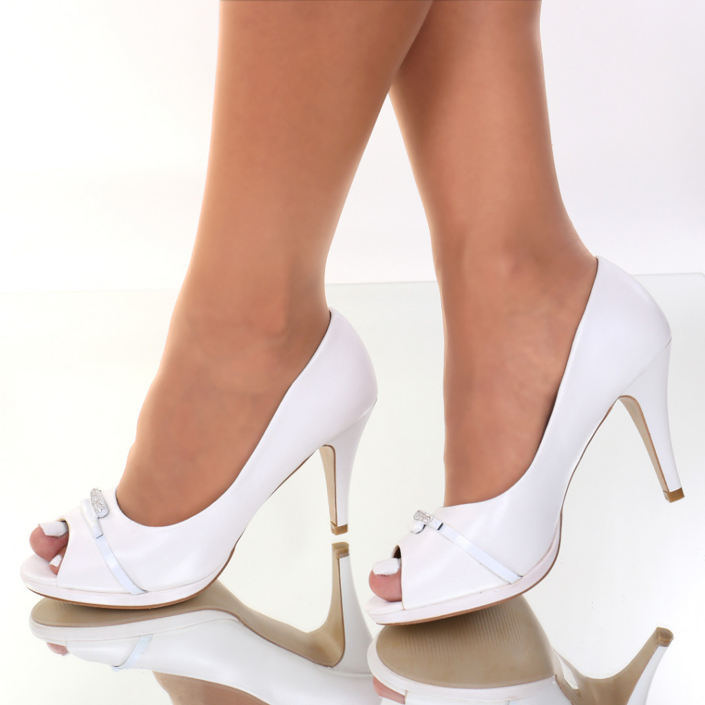 Pantofi piele ecologica albi Anelia