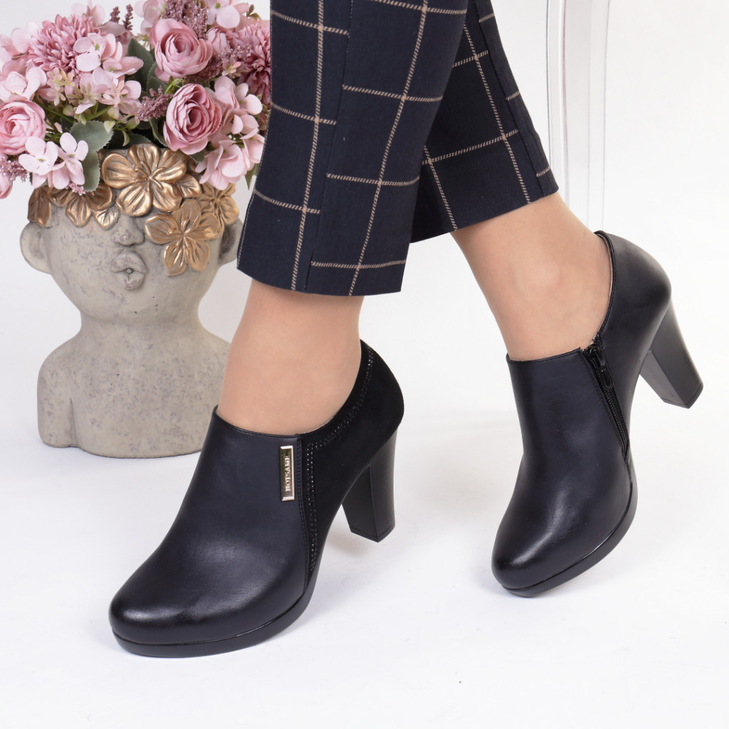 Pantofi piele ecologica+intoarsa Almendra