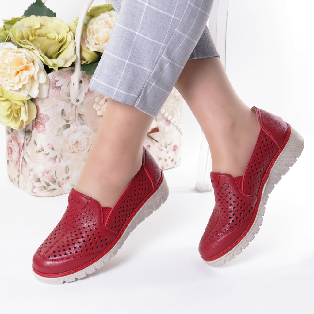 Pantofi rosi piele ecologica Handa