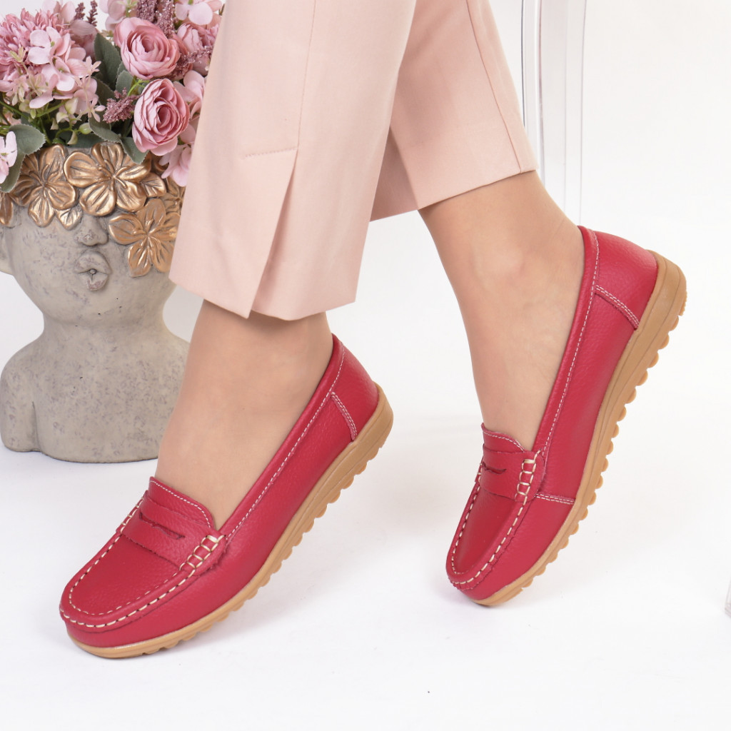 Pantofi rosi piele naturala Castilia