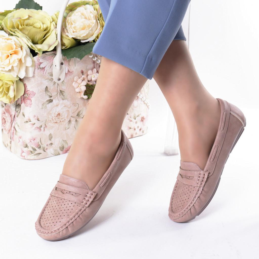 Pantofi roz piele ecologica Aliona
