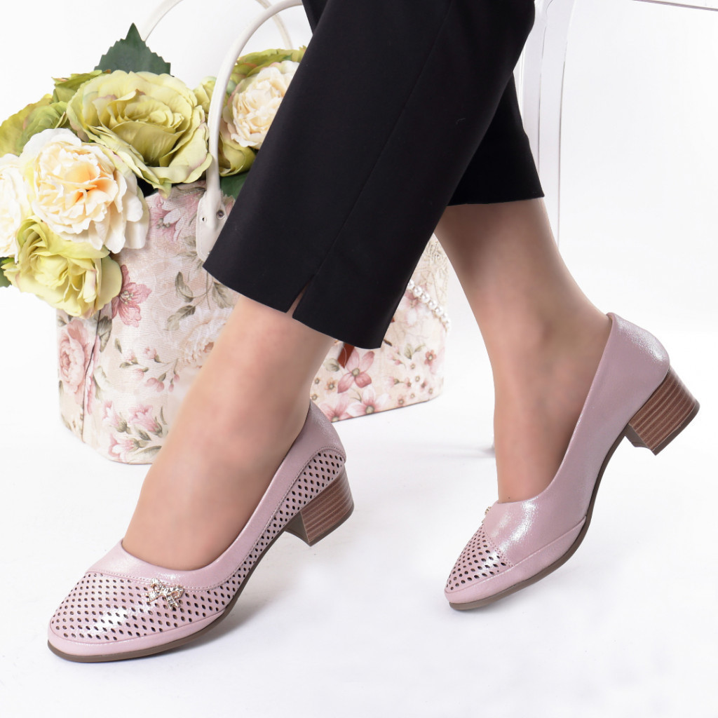 Pantofi roz piele ecologica Stiana