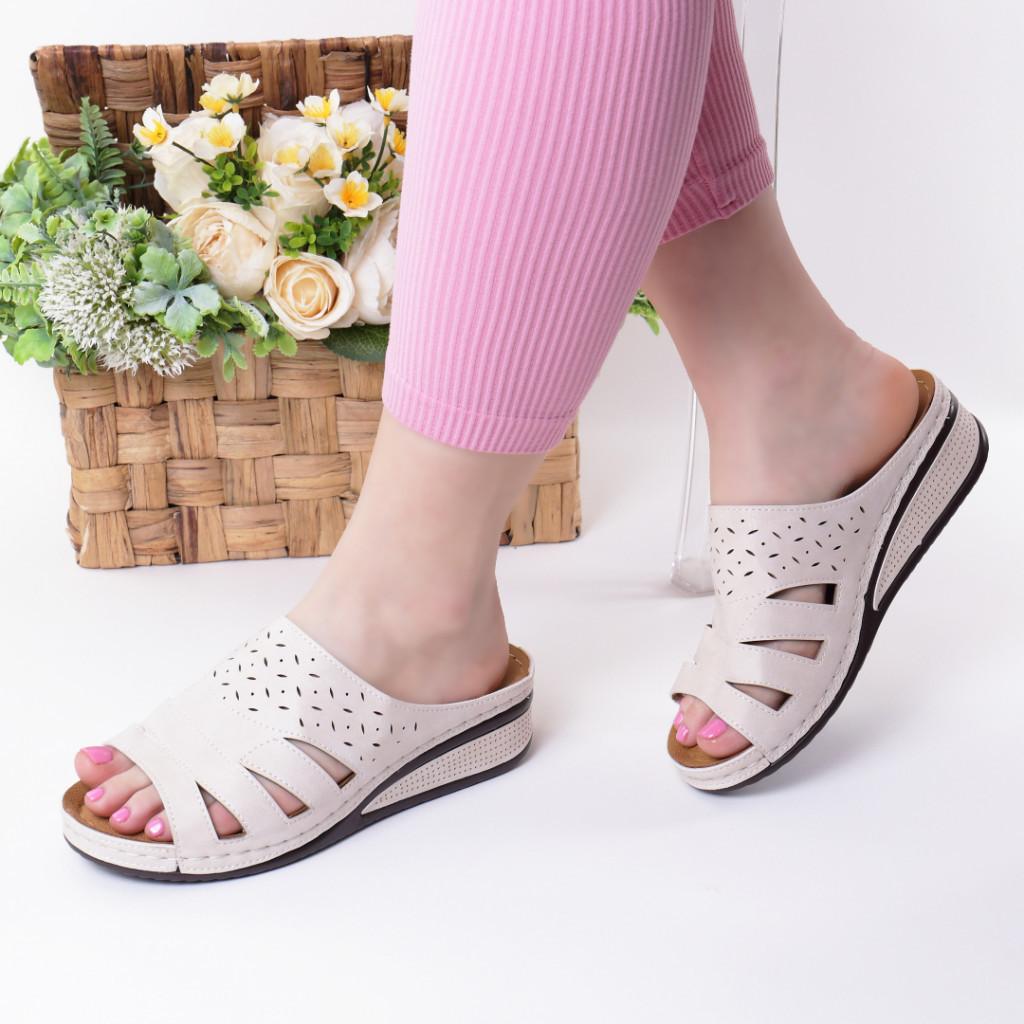 Papuci crem piele ecologica Savina