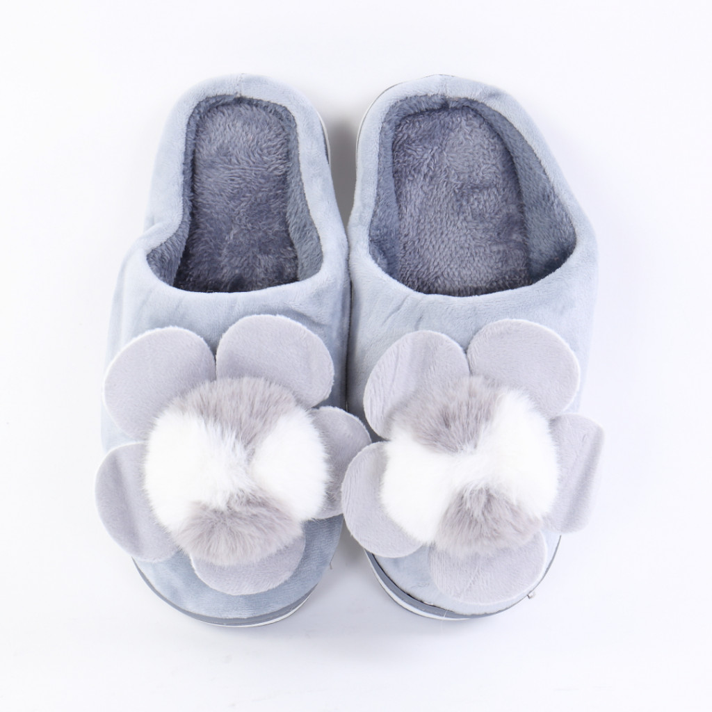 Papuci cu floare gri Lizi