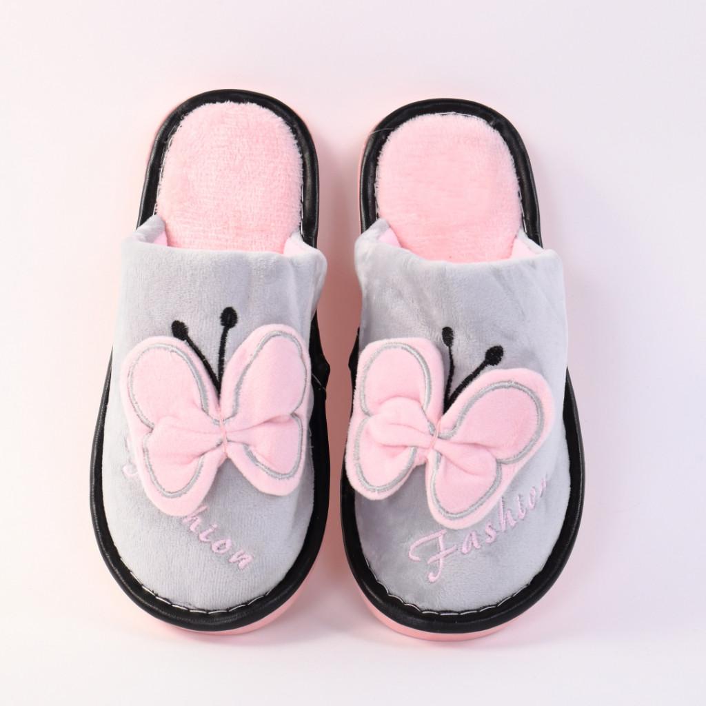 Papuci cu fluture gri cu roz Enia