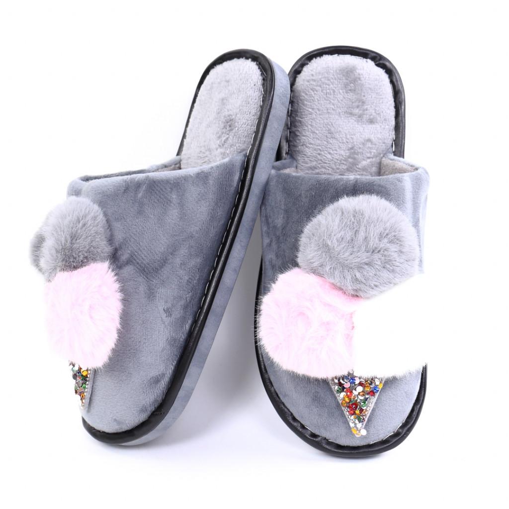 Papuci cu puf gri Parvi