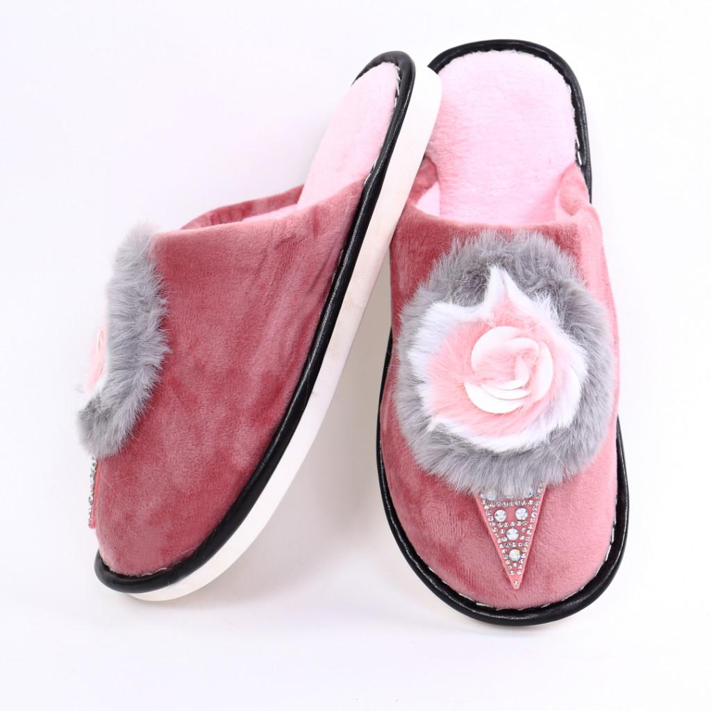 Papuci cu puf roz Rifa