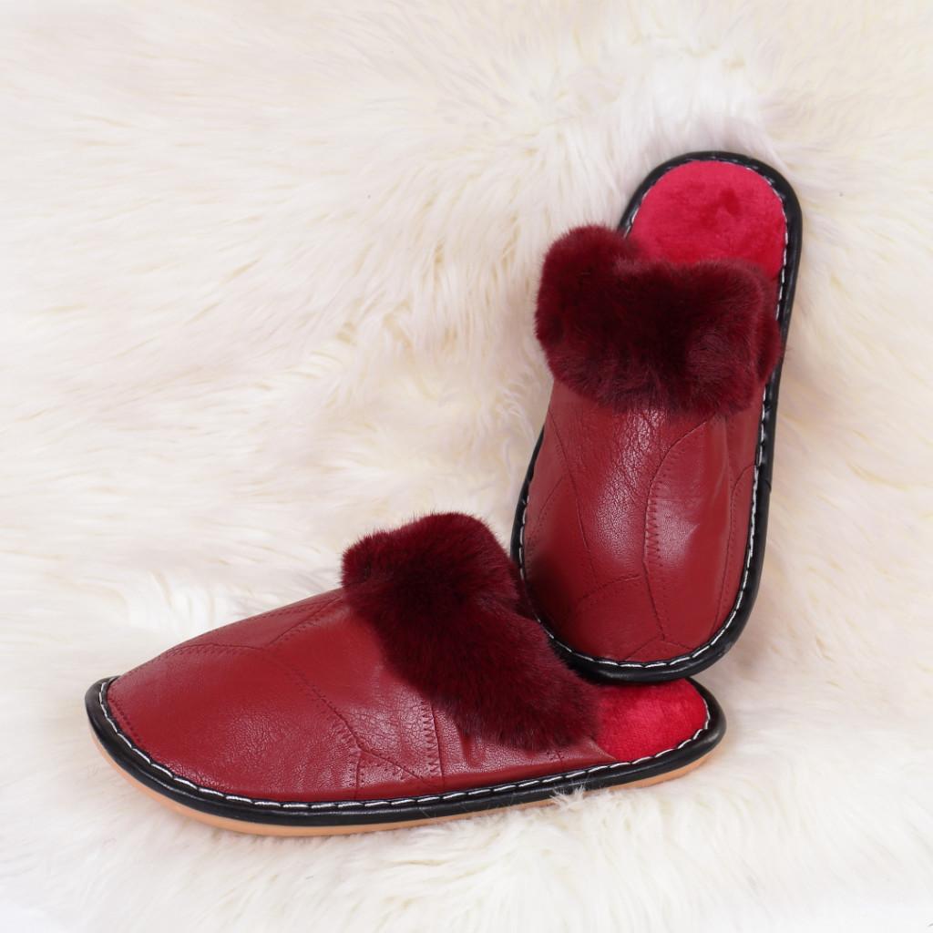 Papuci de casa cu blanita rosi Ozgur