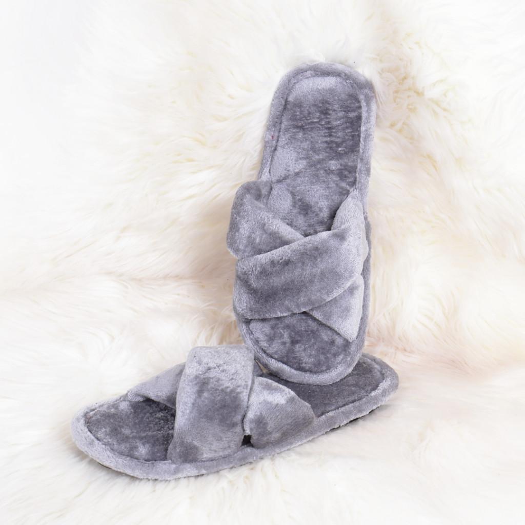 Papuci de casa gri Bandi