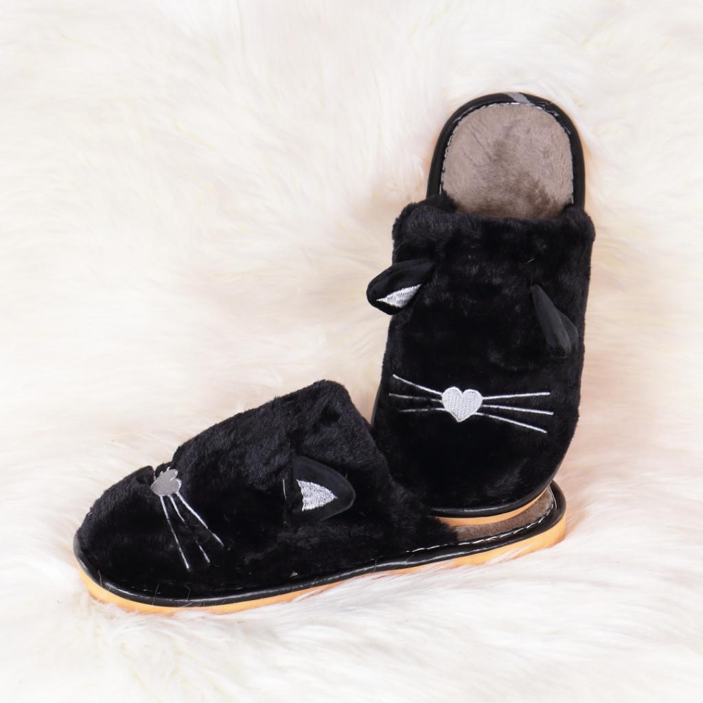 Papuci de casa negru cu pisica Mita