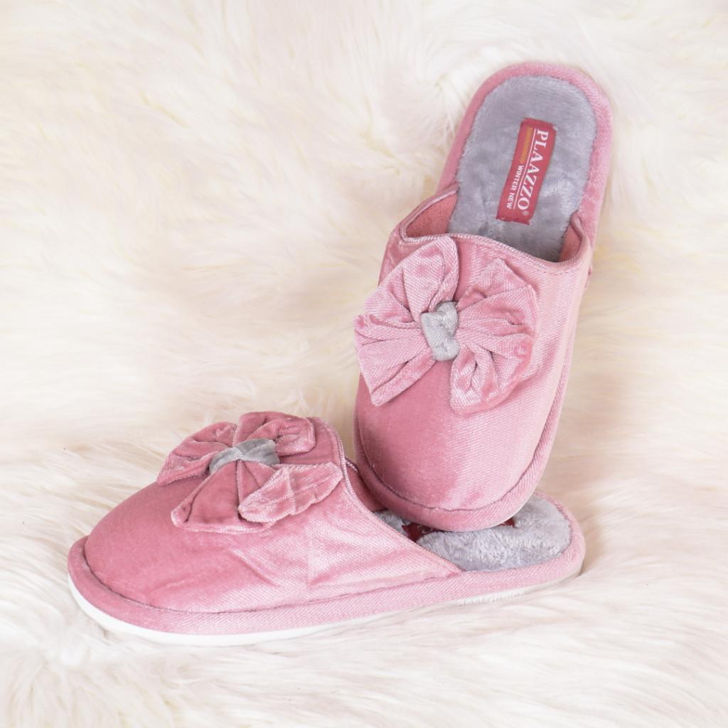 Papuci de casa roz cu funda Emily