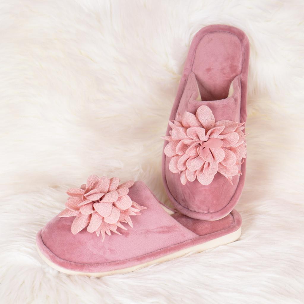 Papuci de casa rozi cu floare Zoly