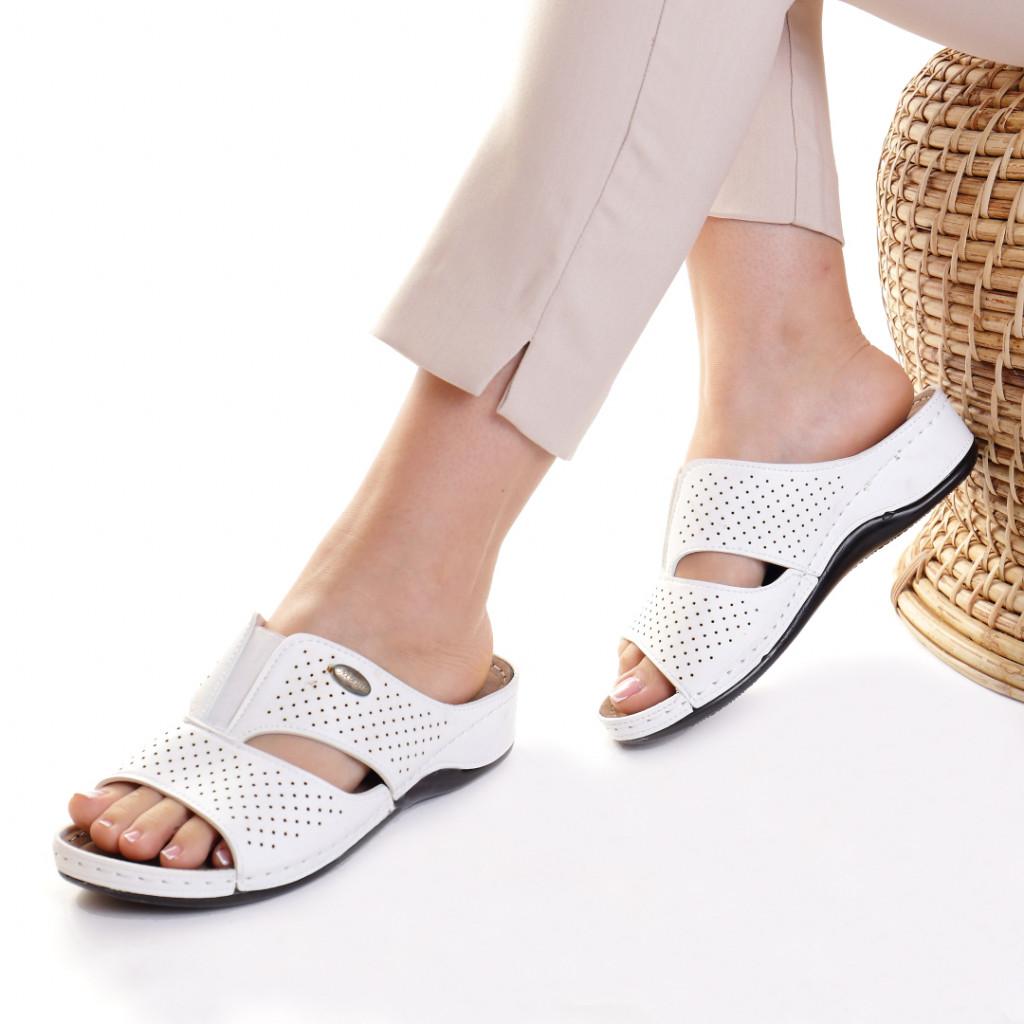 Papuci piele ecologica alb Esfira