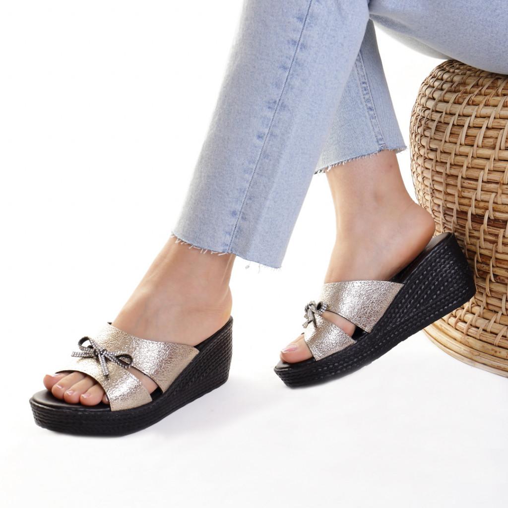 Papuci piele ecologica aurii Jain