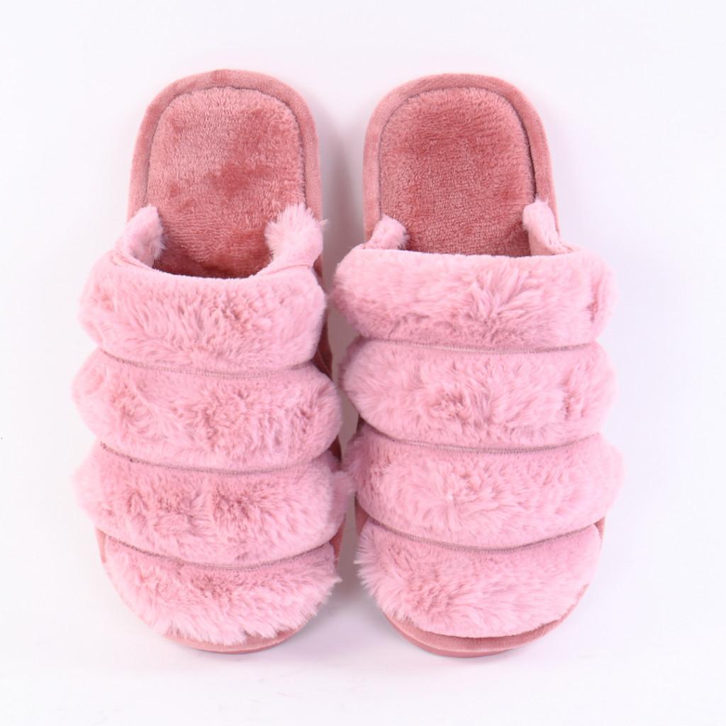 Papuci pufosi lila Sonaia