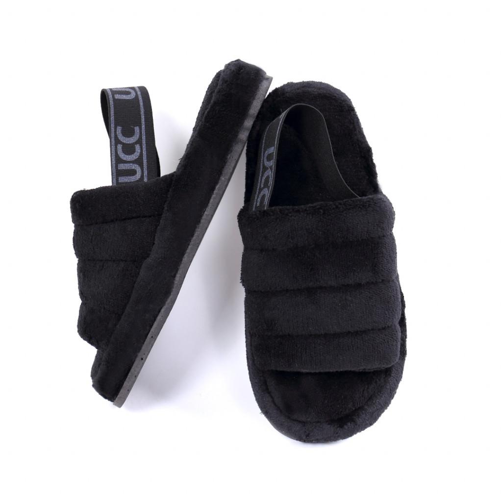 Papuci simpli pufosi negri Ormia