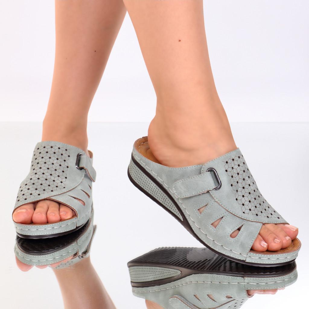 Papuci verzi piele ecologica Giovana