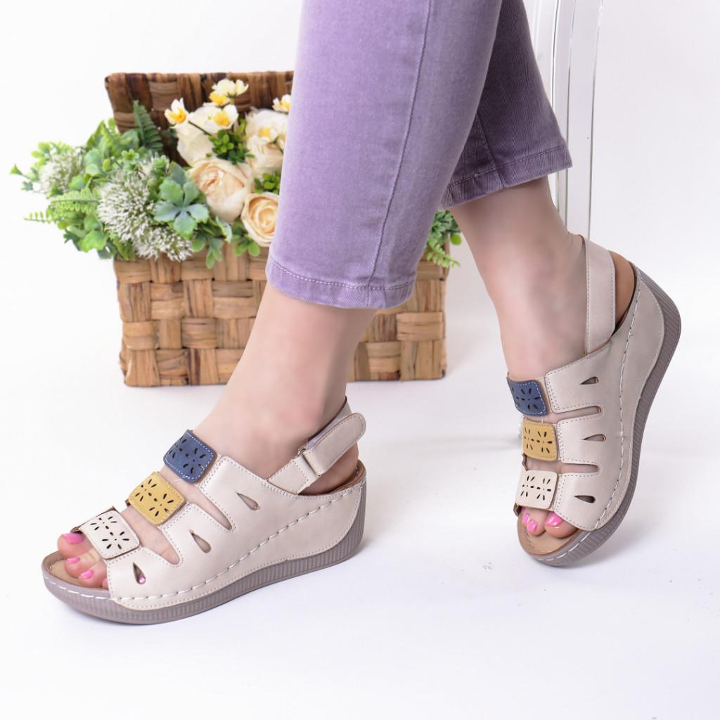 Sandale bej cu galben piele ecologica Zemira