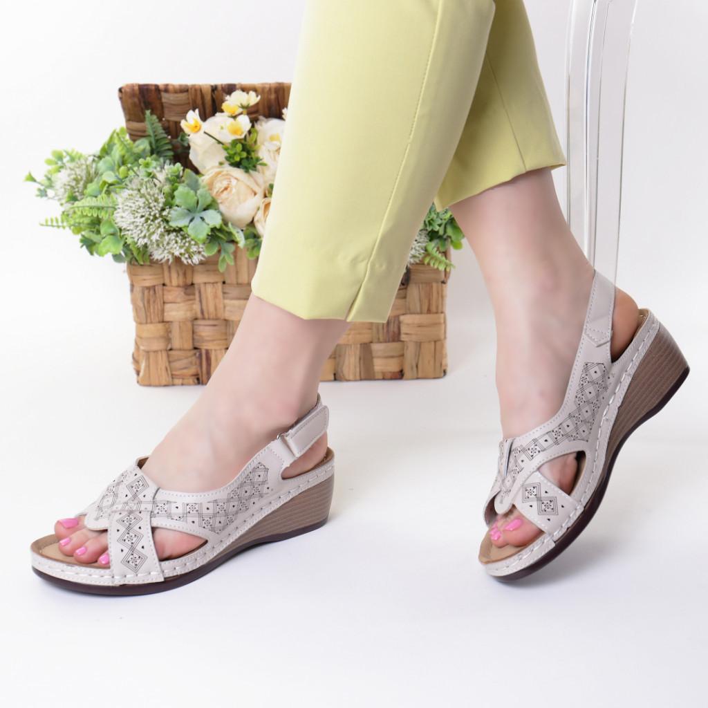 Sandale crem piele ecologica Riveka