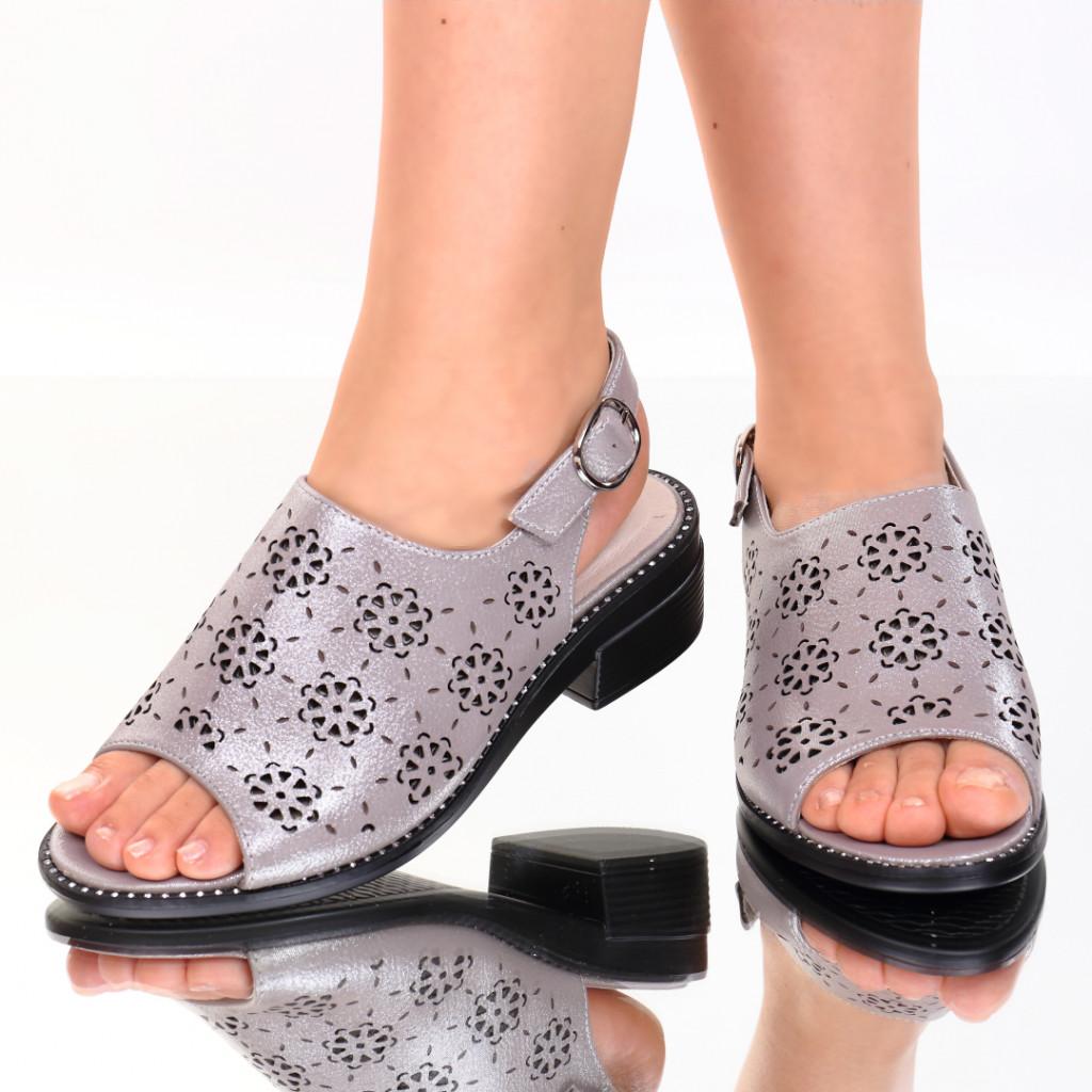 Sandale piele ecologica argintii Evelin