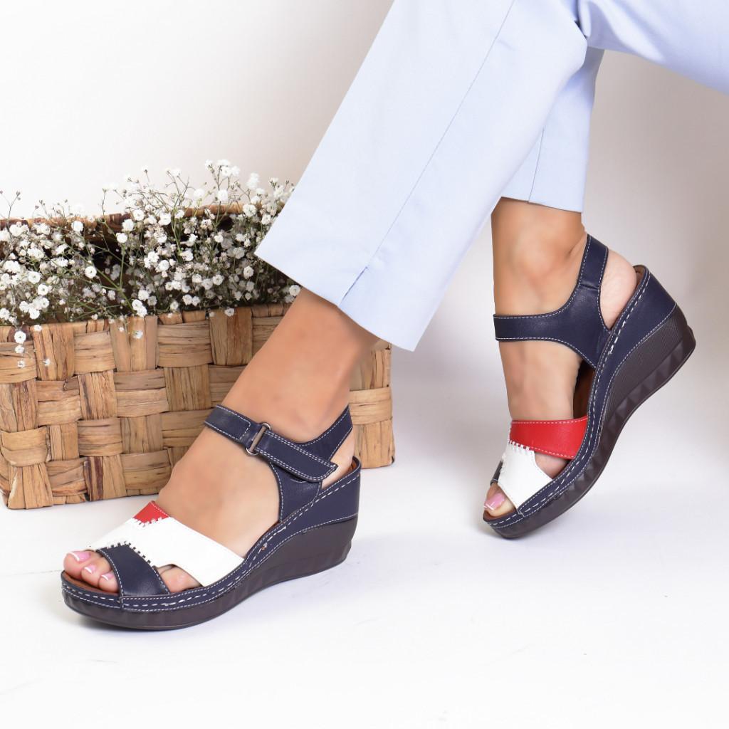 Sandale piele ecologica bleumarain Azardia