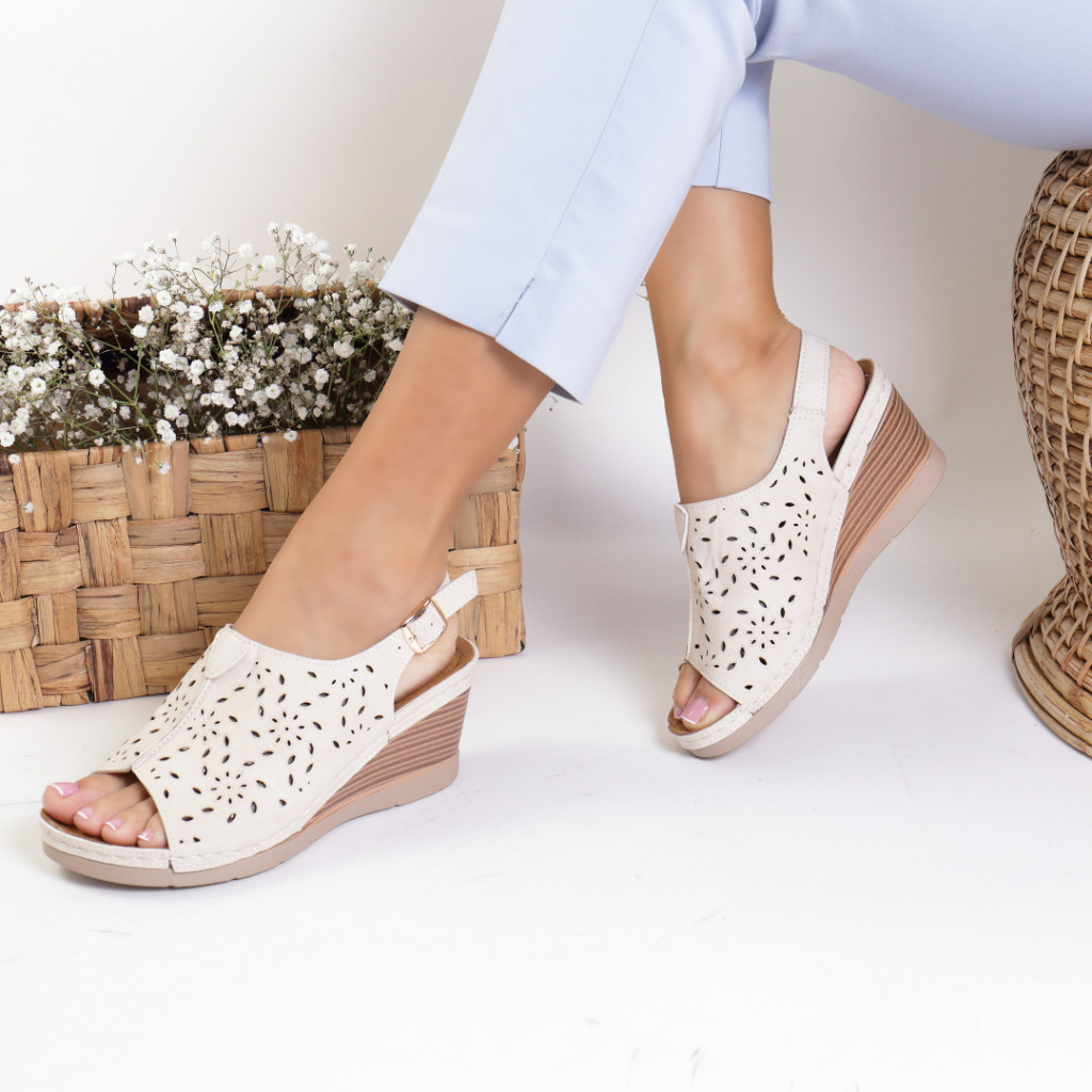 Sandale piele ecologica crem Zora