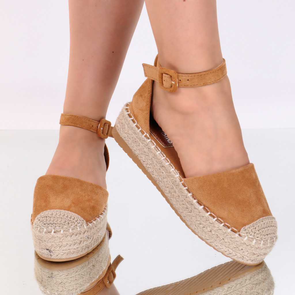 Sandale piele ecologica intoarsa camel Jaya