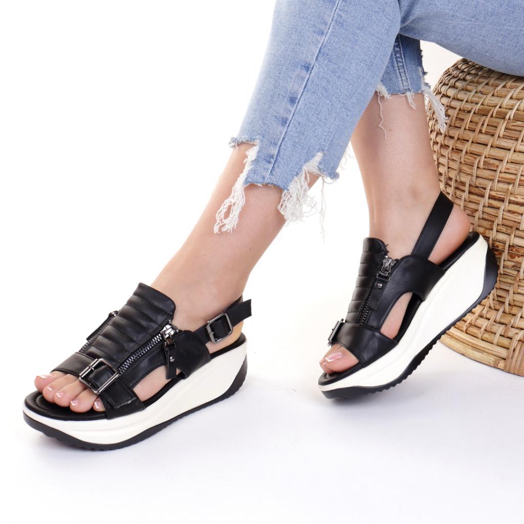 Sandale piele ecologica negre Heidi
