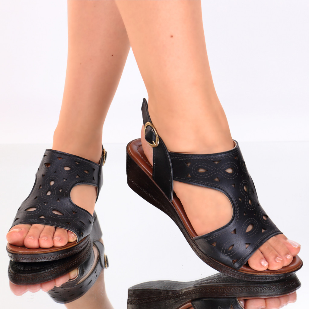 Sandale piele ecologica negre Labonita
