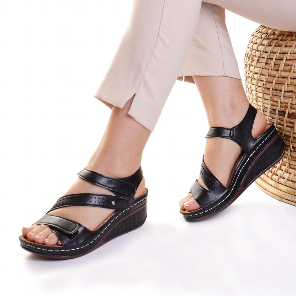 Sandale piele ecologica negre Lylia