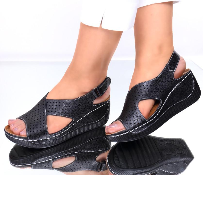 Sandale piele ecologica negre Norma