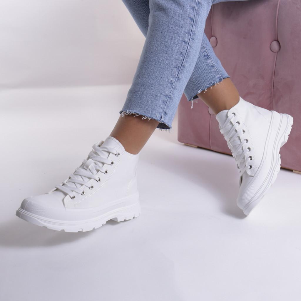 Adidasi albi material textil Simbi