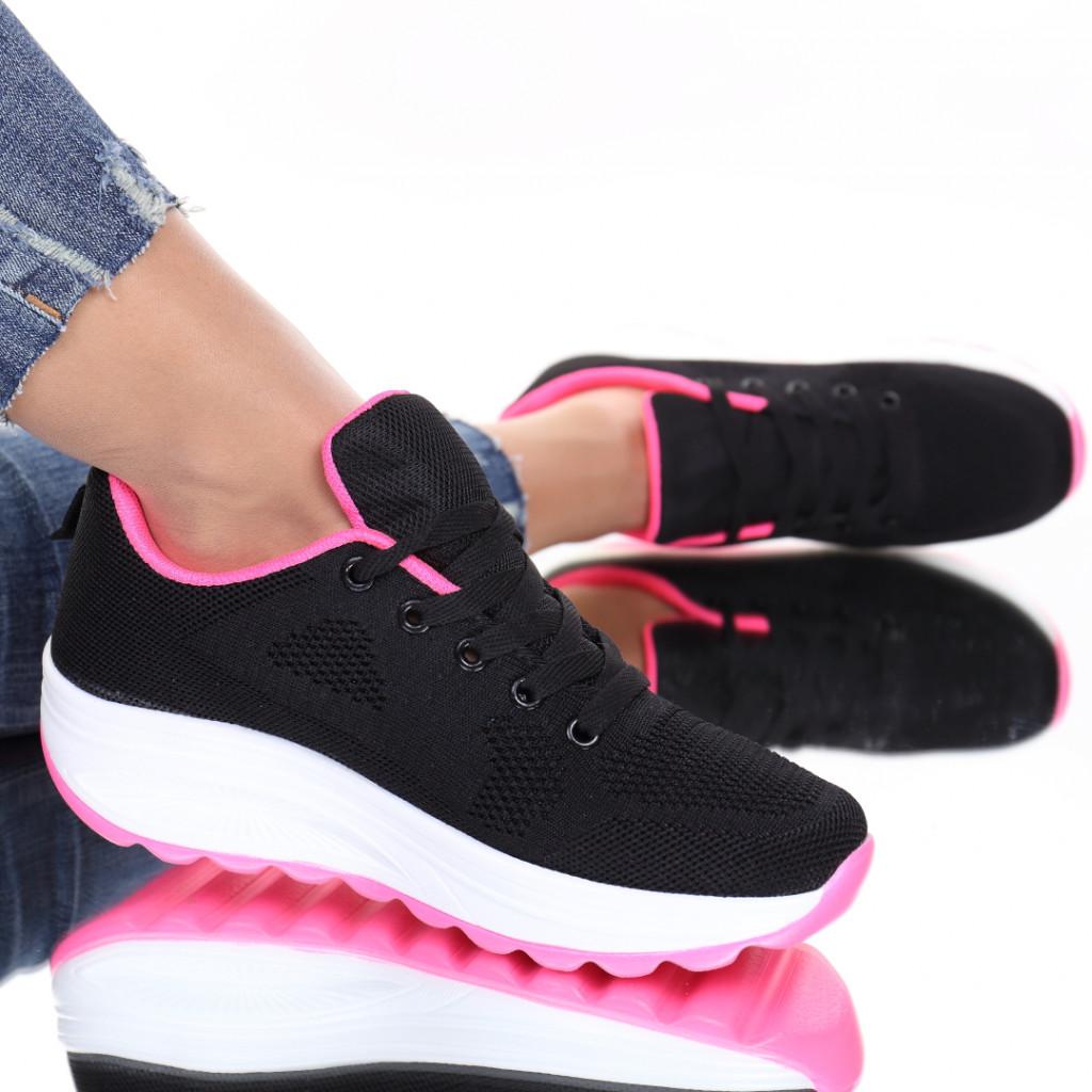 Adidasi material textil negru cu roz Evira