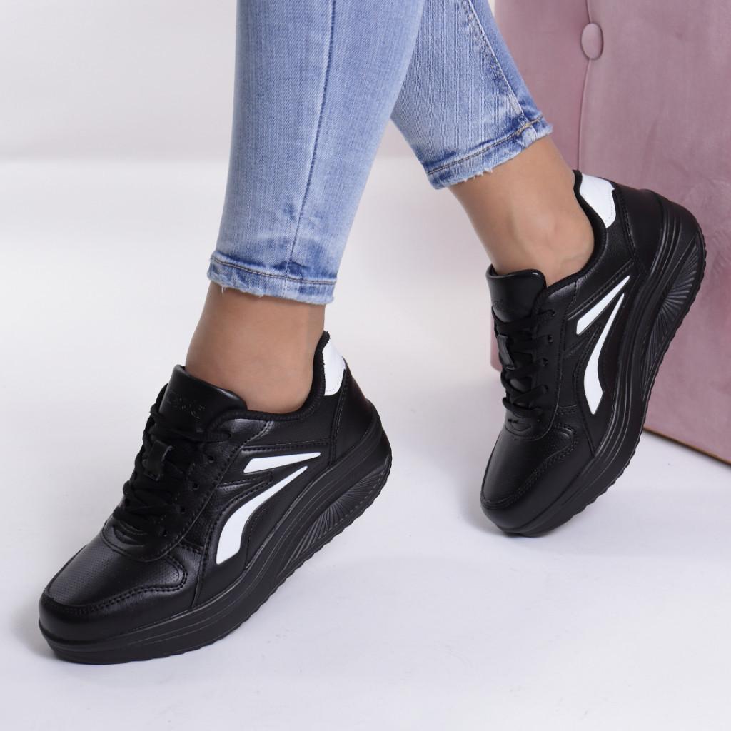 Adidasi negru cu alb piele ecologica Busra