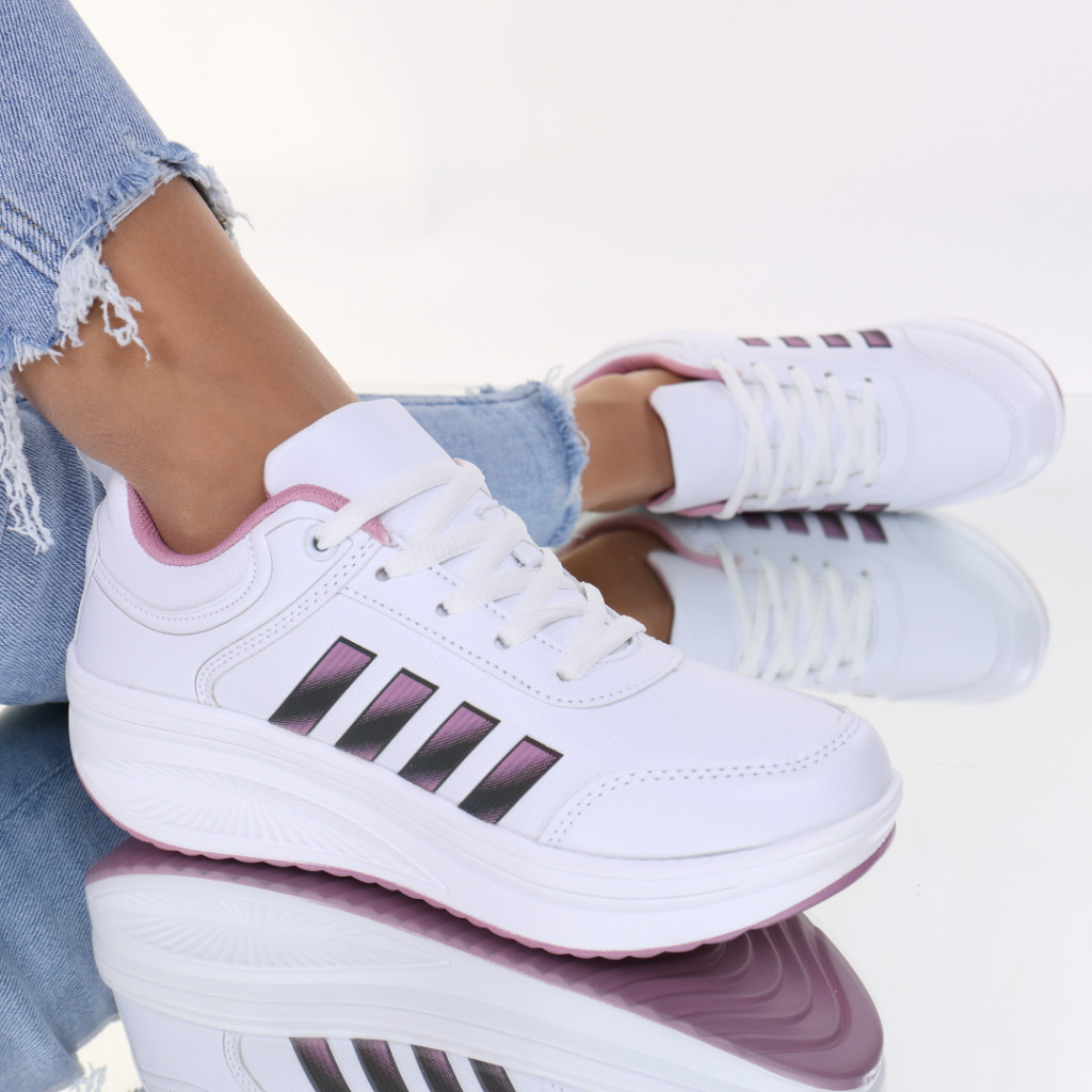Adidasi piele ecologica alb cu roz Evonda