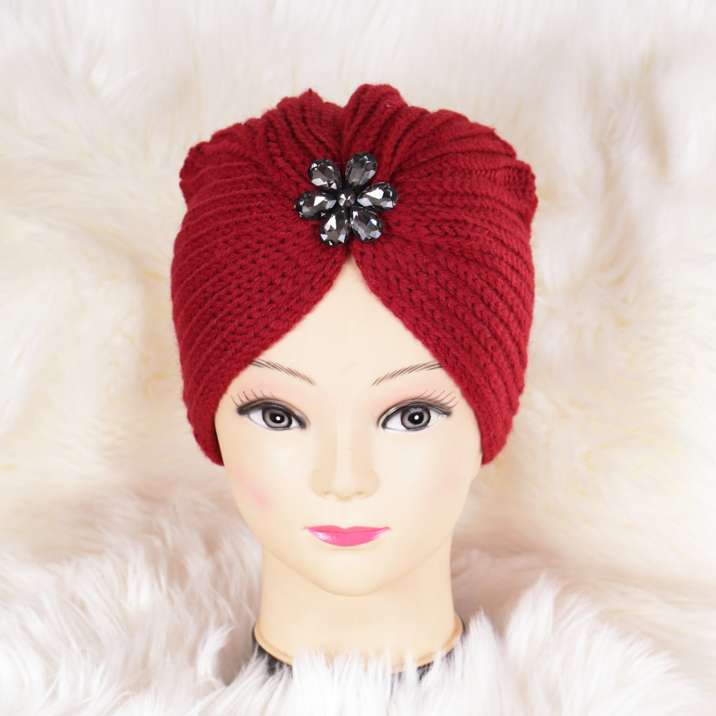 Caciula bordo tricotata stil turban Niki