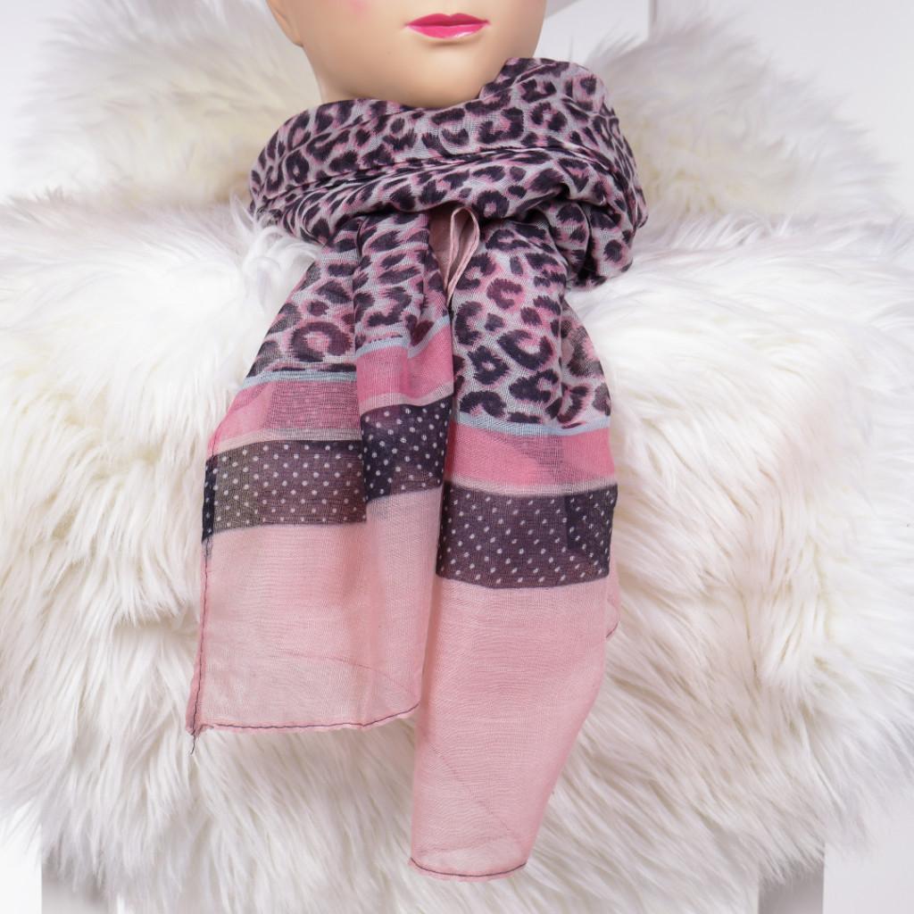 Esarfa cu imprimeu leopard roz Ceresa