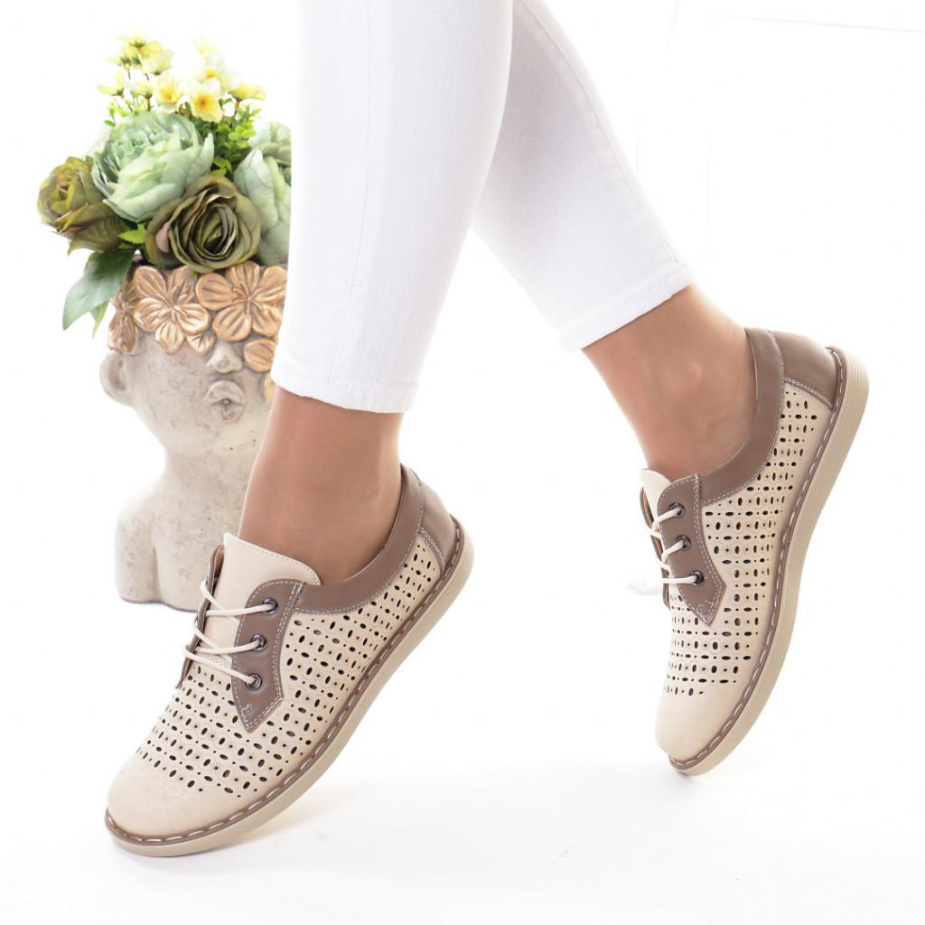 Pantofi bej piele ecologica Bodia