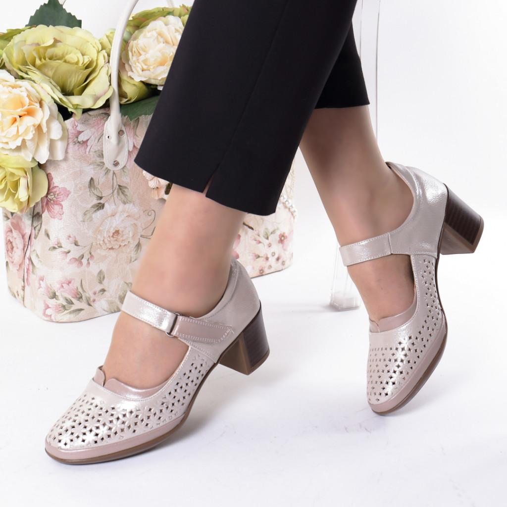 Pantofi gold piele ecologica Olaria