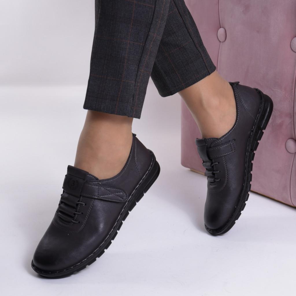Pantofi gri piele ecologica Diomia