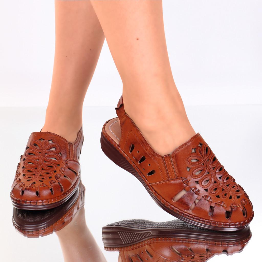 Pantofi maro piele ecologica Gizema