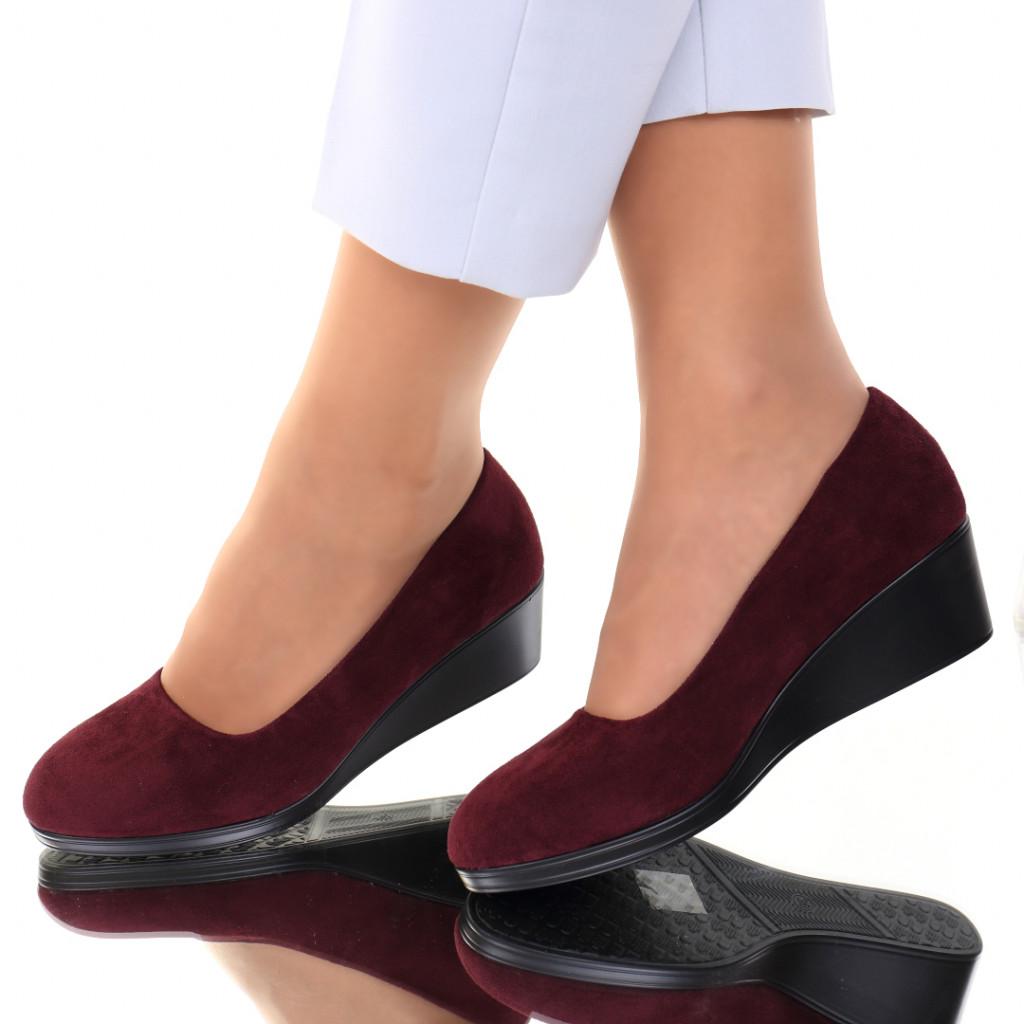 Pantofi piele ecologica intoarsa bordo Sarai