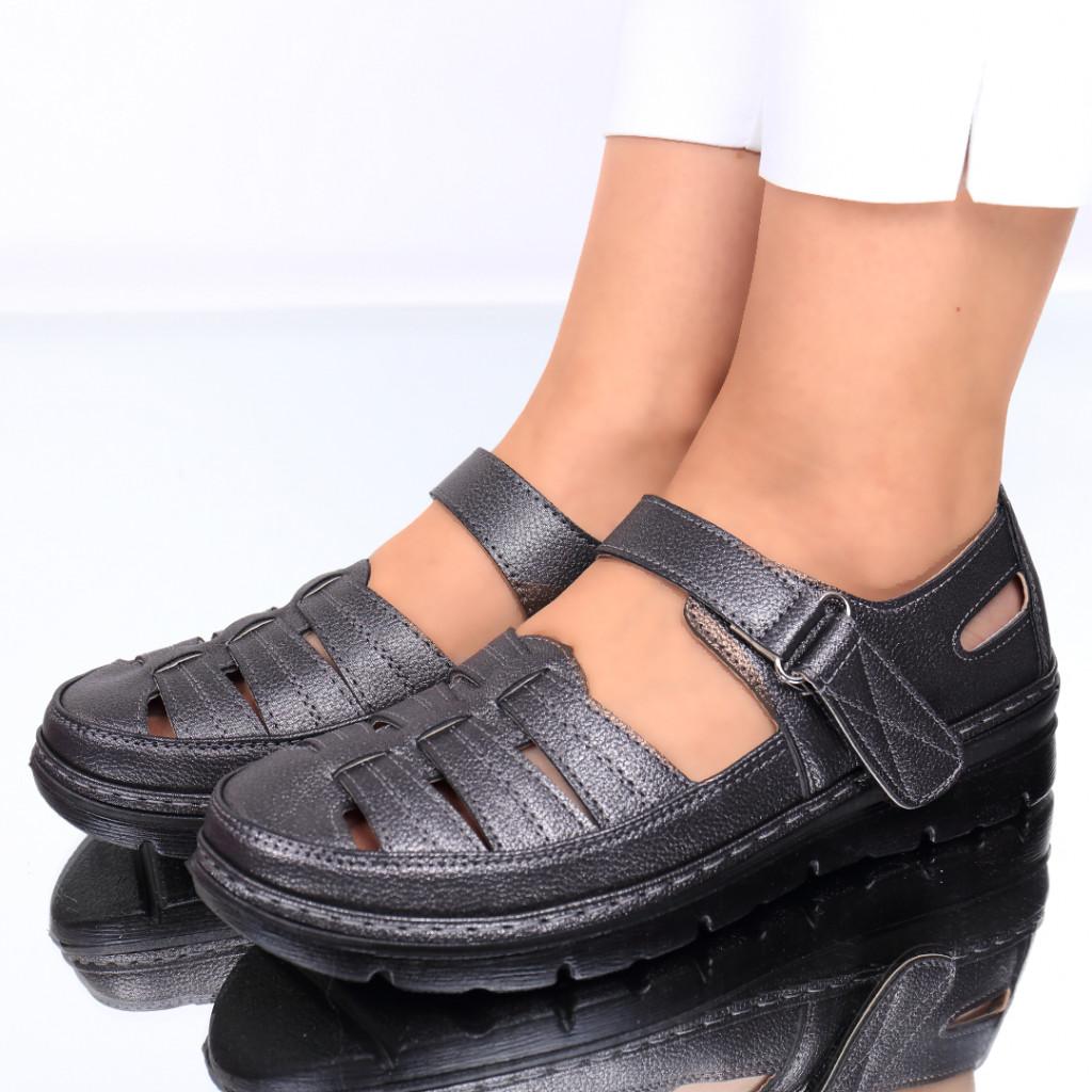 Pantofi piele ecologica metalic Sorela