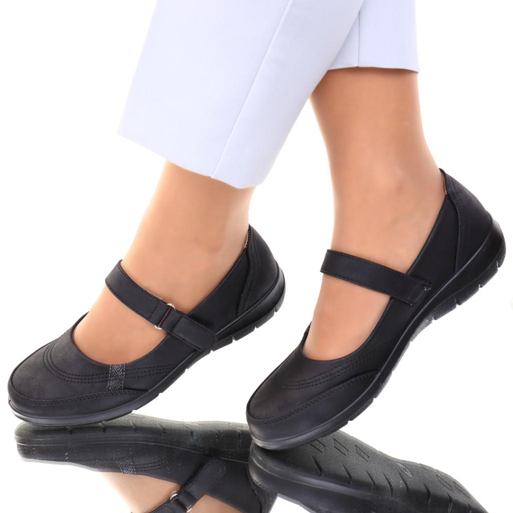 Pantofi piele ecologica negri Rodera