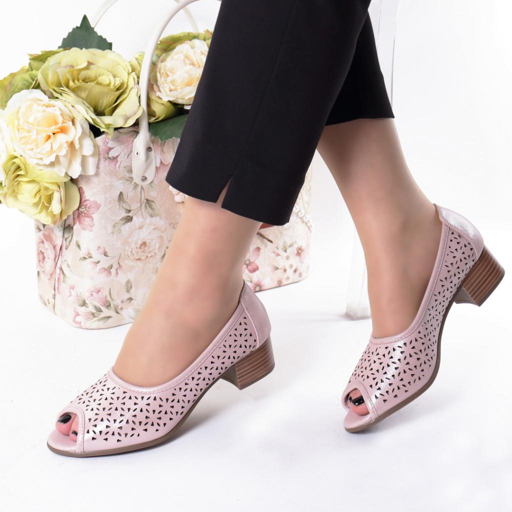 Pantofi roz piele ecologica Hermana